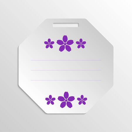 grayscale background: Paper gift badge template with paper violet flowers on grayscale background.