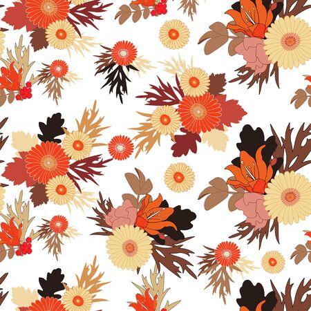 herbstblumen: Nahtlose Herbst Blumenmuster auf wei�em Hintergrund. Herbst Blumen und Bl�tter. EPS 10