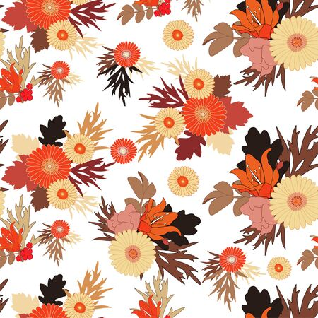 Seamless fall flower pattern on white background.  Autumn flowers and leaves. Vector EPS 10 Illustration