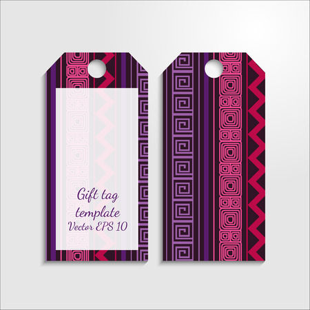 Gift tag templates with bright ethic pattern.  American indians tribals: maya, navajo,aztec, peru. Vector EPS 10.