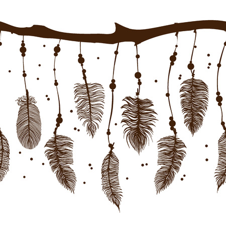 black branch: Seamless border with contour brown feathers and bead on branch. Vector EPS 10