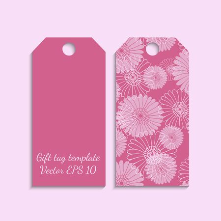 etiqueta de regalo: Gift tag template with flower pattern in pink color. Vector EPS 10