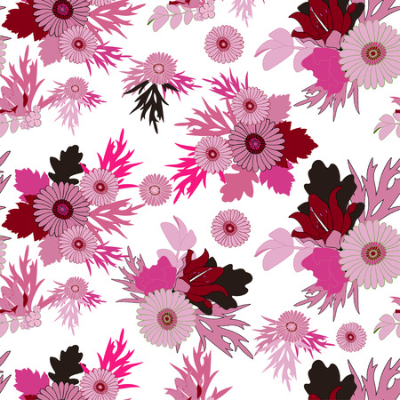 pink floral: Floral pink abstract seamless background. Flowers, leaves, foliage. Vector EPS 10
