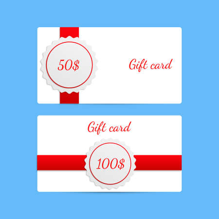 amount: Gift card templates with amount of discount with red ribbons. Vector EPS 10 Stock Photo