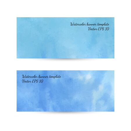 tiffany: Watercolor abstract blue hand drawn banner or card template.  Illustration