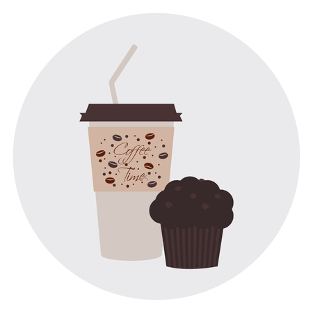 chocolate splash: Takeaway coffee with tubule and chocolate muffin with  chocolate splash in round emblem.  Illustration