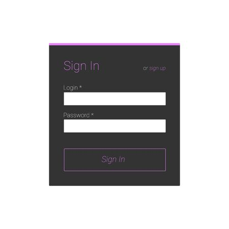 signup: Flat sign in form for your web site.  Illustration
