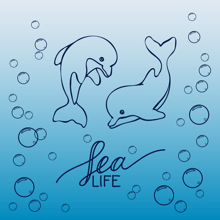 ink water: Two hand drawn baby dolphins, jumping on wave.