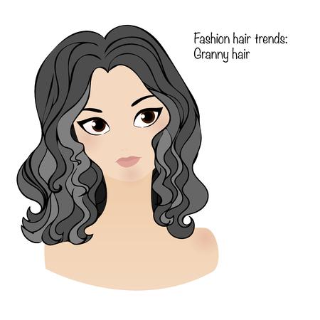 haircare: Fashion hair trend: granny hair.