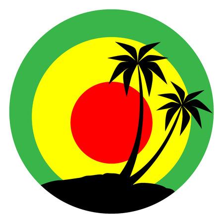 jamaica: Reggae emblem with black plums silhouette.