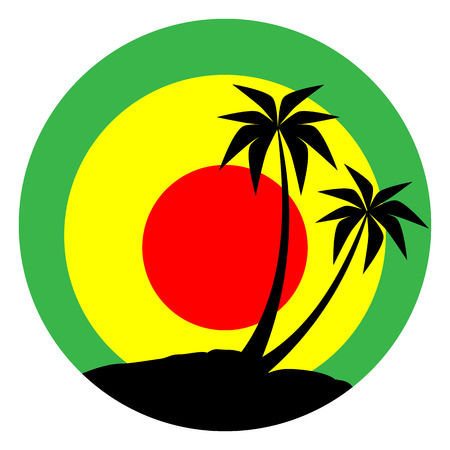 Reggae emblem with black plums silhouette.