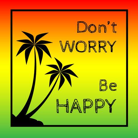reggae: Reggae fond avec pulms noir silhouette et devis.