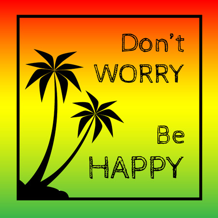 Reggae background with black pulms silhouette and quote.