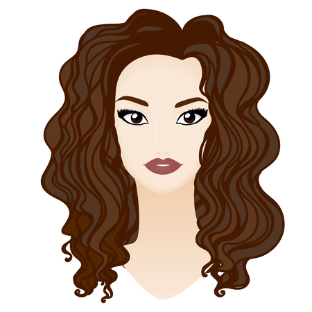 big girls: Beautiful brunette girl portrait with big eyes, long lashes, white skin and red lips.  Illustration