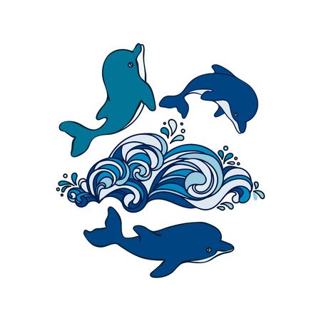 delfin: Dwa ręcznie rysowane delfiny niemowlęce są skoki na fali, a jeden jest pływanie pod wodą. Ilustracja