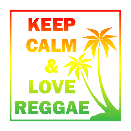 Reggae background with gradient  plums silhouette and quote.