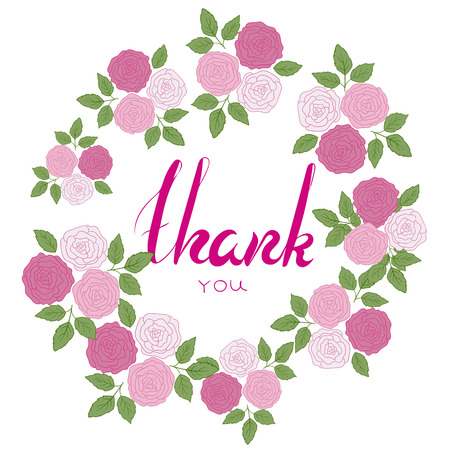 pink flower: Thank you phrase with pink flower frame.