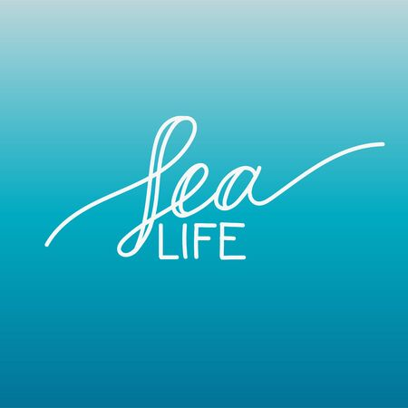 aqua background: Decorative hand drawn white lettering Sea life on deep blue background.