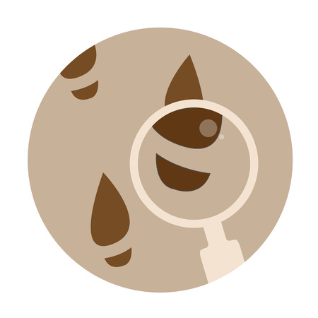detective: Detective round icon with footprints and magnifier.