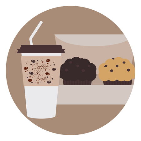 tubule: Takeaway coffee with tubule and two chocolate muffins in the box in round emblem.