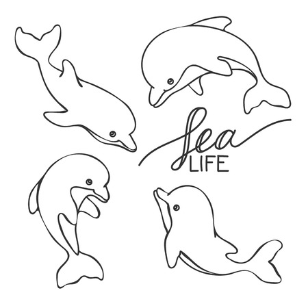分離手描きイルカと「海の生物」のレタリングのセット。ベクター EPS 10