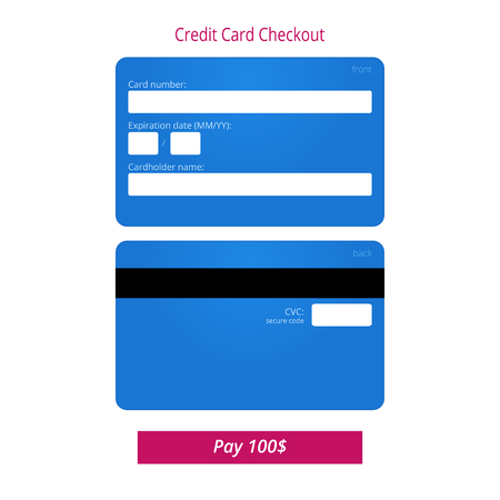 cardholder: Credit card checkout form and submit button. Illustration