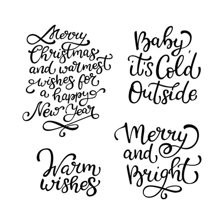 Set of hand drawn vector quoteswarm wishes merry and bright set of hand drawn vector quoteswarm wishes merry and bright baby it m4hsunfo