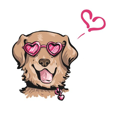 hand drawn vector portrait of funny dog in the pink heart-shaped sunglasses with open mouth and wet tongue in the collar. Isolated on white background.
