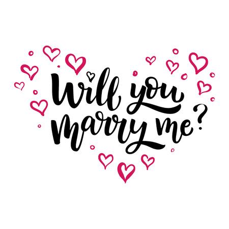 Hand gezeichnete Vektorbürstenbeschriftung heiraten Sie mich Lokalisiertes schwarzes Tintenzitat auf weißem Hintergrund mit rosa Herzen
