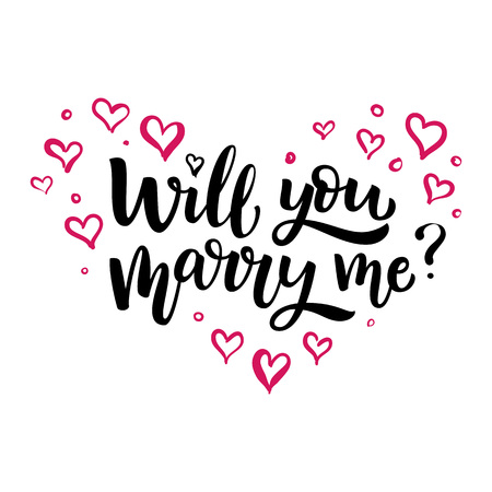 Hand drawn vector brush lettering Will You Marry Me Isolated black ink quote on white background with pink hearts Illustration