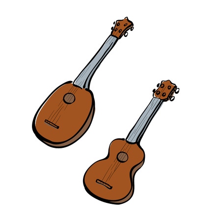 Set of hand drawn ukuleles. Front and side view. Different forms. Illustration