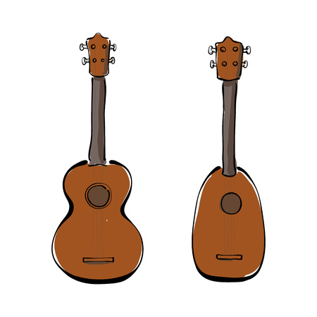 Set of hand drawn ukuleles. Front and side view. Illustration