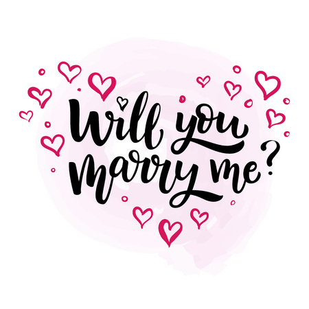 Hand drawn vector brush lettering Will You Marry Me? Isolated black ink quote on white background with pink hearts