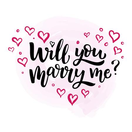 Hand getekend vector penseel belettering wil je met me trouwen? Geïsoleerde zwarte inktcitaat op witte achtergrond met roze harten