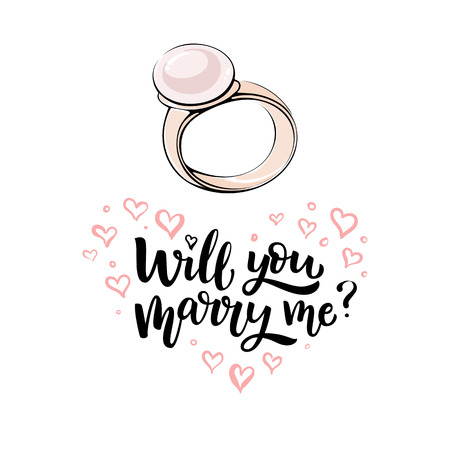 Romantic hand drawn vector illustration. Gold ring with pearl and lettering Will you marry me Illustration