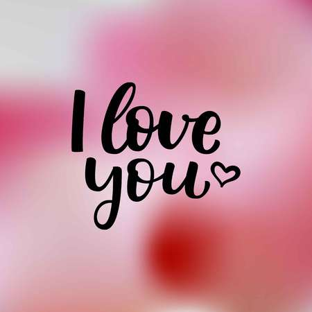 Hand drawn vector  lettering I Love You and heart on light pink blur background for Valentines Day