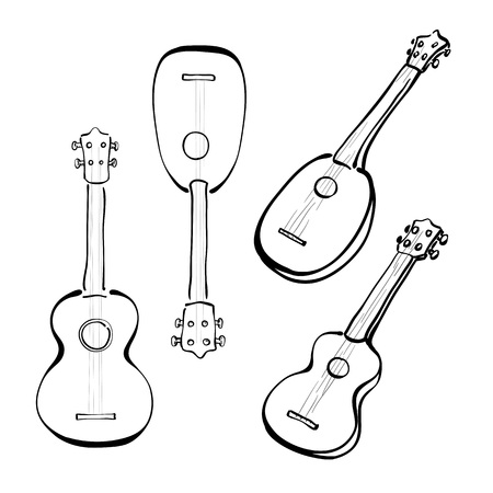 Set of hand drawn ukuleles in sketchy style. Front and side view. Different forms.