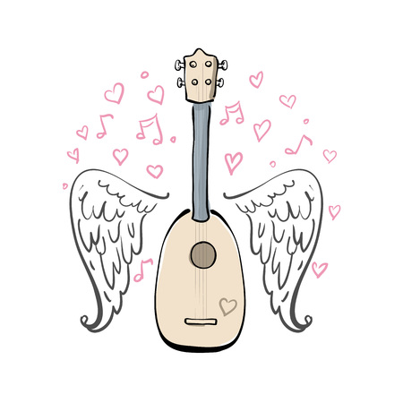 Hand drawn vector illustration with ukulele, sketch wings, hearts and melody. Different lines.