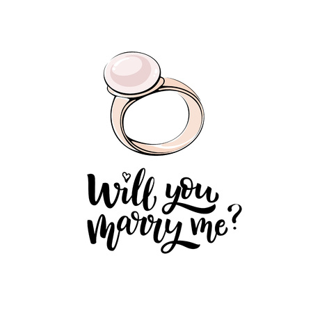 Romantic hand drawn vector illustration. Gold ring with pearl and lettering Will you marry me?  Illustration