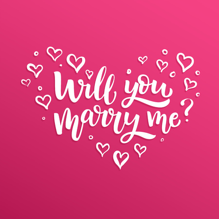 Hand drawn vector brush lettering Will You Marry Me? Isolated quote on pink gradient background.