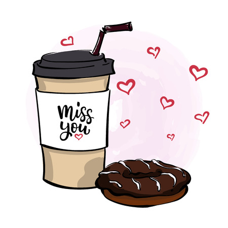 Hand drawn vector illustration with coffee to go cup, chocolate donut , lettering Miss You and romantic hearts on light pink watercolor background.