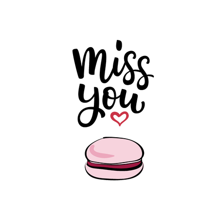 Hand drawn vector illustration with lettering Miss you, heart and pink cherry macaroon for Valentine's Day Ilustração