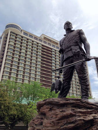 riverfront: Ed Hamiltons statue of York on the Riverfront PlazaBelvedere in Louisville KY.