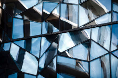 specular: Abstract detailed shot of reflecting glass wall  the office building