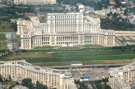 dictator: Romanian Parliament house, built by dictator Ceausescu, before anti-communist revolution in 1989, as his headquarter - the second biggest building in the world (as volume, after US Pentagone) - picture taken from a zeppelin