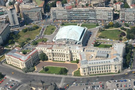 bucharest: Romanian National Museum of Art, downtown Bucharest - before communism, it was the King Michael I palace - picture taken from a zeppelin