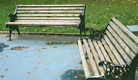 bucharest: Benches in a Bucharest park, in autumn