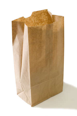 flax seed: paper bag isolated on a white back ground