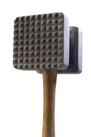 Close up of a meat mallet on white