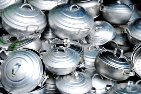 cooking ware: Cooking ware made from aluminum on street market